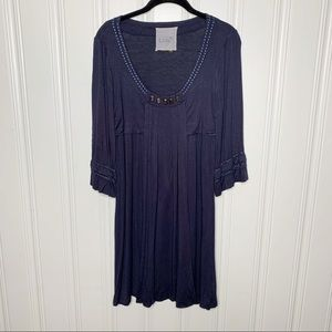 Anthropologie Luluvia Navy Blue Pleated Knit Dress